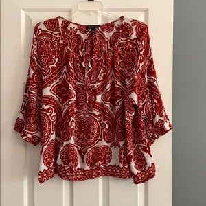 INC red and white peasant blouse.